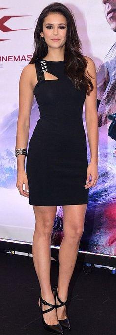 Nina Dobrev in Versace attends Sao Paulo Comic Con. #bestdressed