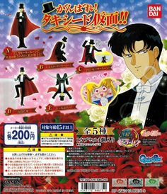 Bandai Sailor Moon Tuxedo Mask Gashapon Figure Darien Shields set of 5