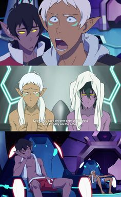 Keith / Lance >> Riddle me this please: why would Altean!Lance's hair be white when Coran is ginger?? Being from Altea would have no effect on Lance's hair colour!