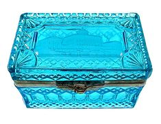 Imperial Russian Peacock Blue Pressed Glass Tea Caddy