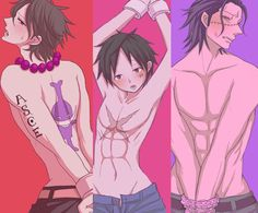Crocodile, Portgas D. Ace and Monkey D. Luffy #one piece