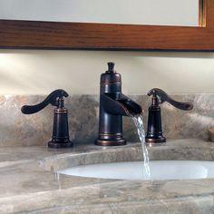 Pfister Ashfield Centerset Bathroom Faucet with Drain Assembly - Badezimmer Amaturen Rustic Bathroom Faucets, Rustic Bathroom Designs, Bronze Bathroom, Modern Farmhouse Bathroom, Rustic Bathrooms, Sink Faucets, Bathroom Fixtures, Bathroom Interior, Small Bathroom