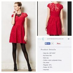 Dolce Vita Taisia dress Absolutely gorgoeus dress. Red lace. Size 4 petite. Anthropologie Dresses