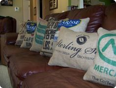 I like these pillows made from burlap coffee sacks.