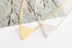 Upside Down Triangle Necklace-mc -The Triangle shape (▲) is a symbol of combination, creation, and illumination. Triangle symbolism speaks to us of magic, and creativity. Triangle jewelry will transport you to another place, 'The magic world!' :-) ☪ Fall in love with Triangle! Be beauty with Alllick!