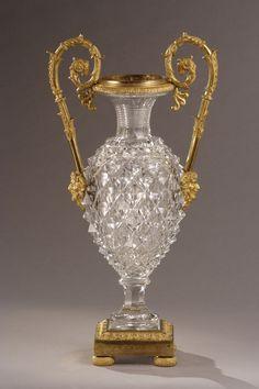 A cut-crystal vase