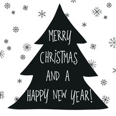 Een hippe kerstkaart met handgeschreven tekst in stoer zwart/wit. Plaats binnenin de kaart je eigen tekst.