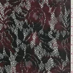 Burgundy/Black Crochet Lace