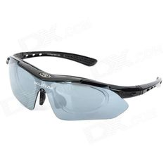 Brand: Kugai; Quantity: 1; Color: Black; Size: One Size; Gender: Men's; Frame Color: Black; Lens Color: Gray; Frame Material: Plastic; Lens Material: PC; Frame Height: 4.6 cm; Lens Width: 15 cm; Overall Width of Frame: 15.7 cm; Bridge Width: 2 cm; Functions: Windproof, UV protective, shock resistant; Packing List: 1 x Goggles1 x Pouch1 x Strap1 x Cloth1 x Myopia frame1 x Case5 x Replacement lens (tawny + blue + transparent + yellow); http://j.mp/1tiqGuW