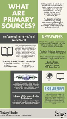 Confused about primary sources? See if this infographic can help you out! Library Research, Research Skills, Research Methods, Library Lesson Plans, Library Lessons, Teaching Social Studies, Teaching History, Primary And Secondary Sources, Study History