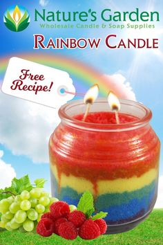 Rainbow Candle Recipe is free from Natures Garden Candle Making. This diy layered rainbow candle is a sand art candle that is a great craft for kids. Diy Candle Melts, Diy Wax Melts, Mason Jar Candles, Diy Candles, Scented Candles, Making Candles, Expensive Candles, Garden Candles, Candle Supplies