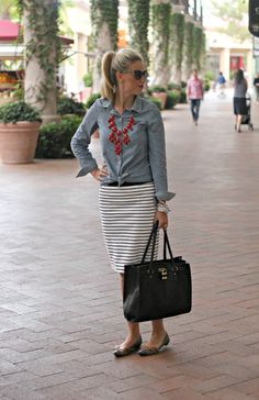 Chambray button up, coral red statement necklace, white and black striped skirt, sunnies, black leather tote, buckled flats