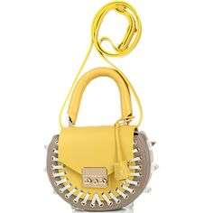 Сумка с декоративной шнуровкой и шипами Salar Mimi Pocket бежевого цвета с желтым клапаном