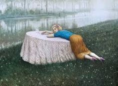 Richard Martin Art featuring works by artist Mike Worrall showing the work, THE SADNESS of RIVERS, in the medium, oil on canvas Paul Delvaux, Picnic Blanket, Outdoor Blanket, Blog Art, Roman Polanski, Max Ernst, Surrealism Painting, Short Break, Visionary Art