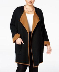 Alfani Plus Size Contrast-Trim Sweater Coat 6c8d774a758