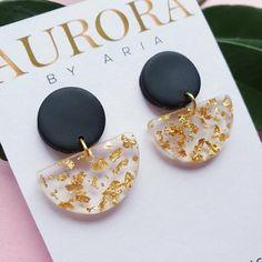 Diy Resin Earrings, Resin Jewelry Making, Nickel Free Earrings, Polymer Clay Jewelry, Resin Jewellery, Gold Earrings For Women, Black Earrings, Statement Earrings, Diamond Earrings