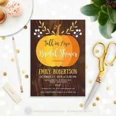 fall in love bridal shower invite printable pumpkin wedding invitation rustic wood wedding shower invitation editable