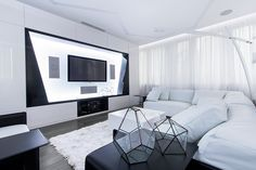 Black And White Geometry In A Futuristic Moscow Apartment