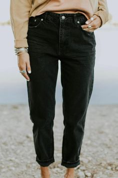 25bd5ad58bda Free People Mom Jeans in Black   ROOLEE High Waisted Mom Jeans, Casual  Attire,