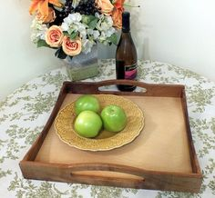 Large Myrtlewood Serving Tray Dove Tail Woodworking by InnerGarden