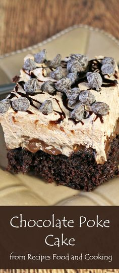 Chocolate Poke Cake - Homemade scratch chocolate cake, chocolate condensed milk poke filling and a chocolate whipped cream with chocolate chips from Recipes Food and Cooking Cake for boy Chocolate Mousse Cheesecake, Cake Chocolate, Chocolate Chips, Chocolate Recipes, Cooking Chocolate, Poke Cake Recipes, Poke Cakes, Cupcake Cakes, Dessert Recipes