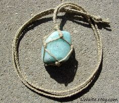 Hemp Wrapped Healing Crystal Blue Calcite Necklace