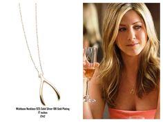 Jennifer Aniston wears a beautiful NIALAYA Wishbone Necklace 925 Solid Silver  18K Gold Plating 17 inches £142