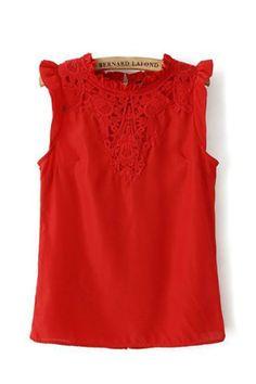 Lace Neckline Sleeveless Casual T-shirt - 6ks.com