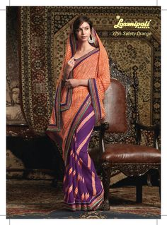 This combination of orange & violet chiffon saree with beautiful border patta