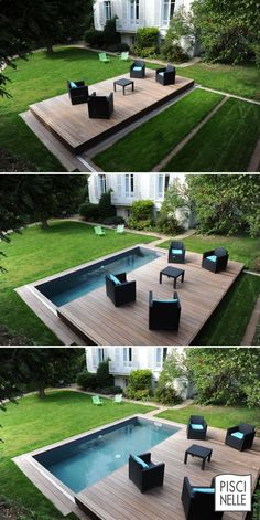 Discover thousands of images about Pool/Schwimmbecken und verschiebbares Deck/Terrasse Small Backyard Pools, Backyard Pool Designs, Small Pools, Backyard Landscaping, Landscaping Ideas, Patio Ideas, Pool Decks, Small Garden Tub, Small Garden With Pool Ideas