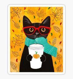 A cat, fall, and pumpkin coffee. Autumn Pumpkin Coffee Cat Original Folk Art by KilkennycatArt (Ryan Conners) Art Populaire, Cat Posters, Art Et Illustration, Cat Illustrations, Pics Art, Fall Pumpkins, Cat Love, Crazy Cats, Cats And Kittens