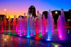 Interactive Fountain Water Features Enjoy splashing in fountains or just watching the water. Fountains in commercial property or in a park can give the. World Of Color, Color Of Life, What's My Favorite Color, Taste The Rainbow, Wonders Of The World, Rainbow Colors, Bright Colors, Color Splash, Beautiful Places