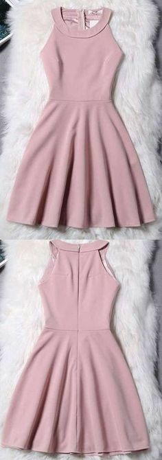 Pink Homecoming Dress, Short Evening Dress, Simple Halter Zipper Mini Homecoming Dress, Sexy Party Dress 244 - How To Be Trendy Mini Prom Dresses, Hoco Dresses, Trendy Dresses, Simple Dresses, Sexy Dresses, Casual Dresses, Fashion Dresses, Formal Dresses, Elegant Dresses