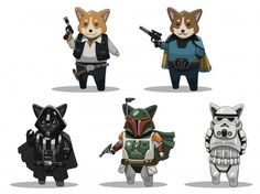 Star Wars and Corgis!!! The queen of England must love this! lol!