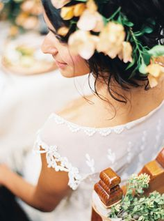 lace wedding dress - photo by Sarah Kate Photographer and Joshua Aull Photography http://ruffledblog.com/mexico-city-courtyard-wedding-ideas