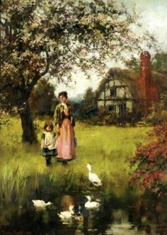 Mother And Child In A Landscape With Cottage And Duckpond