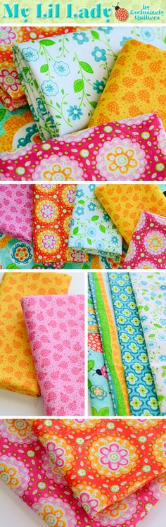 My Lil' Lady is a fun and bright collection by Exclusively Quilters available at Shabby Fabrics