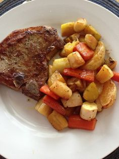Cumin spiced pork chops with root vegetables