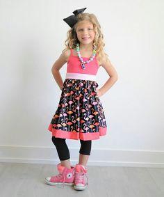 Love this Pink & Black Flamingo Dress - Infant, Toddler & Girls by KPea Original on Flamingo Dress, Infant Toddler, Toddler Girls, Kids Fashion, Kids Shop, Pink Black, Fabric, Vintage, Dresses