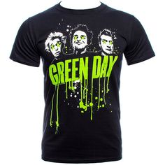 Green Day Drips T Shirt (Black) (25 CAD) ❤ liked on Polyvore featuring tops, t-shirts, shirts, tees, black tee, shirts & tops, green shirt, green t shirt and black shirt