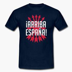 "Arriba España! Go Spain! 2-color design combines the text with the symbol of Falange Española. tags: spanish, spain, falange, phalanx, franco, falangist https://shop.spreadshirt.fi/revolt-noir/""arriba espana""-A106482060?appearance=4"