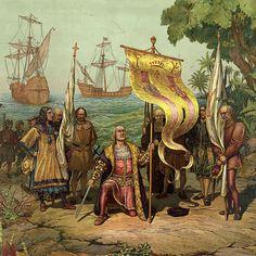В каком месте Колумб впервые ступил на берег во время своего первого путешествия к берегам Нового Света? на Багамах.