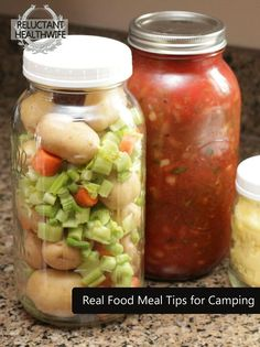 Camping with real food-love this 1/2 gallon jars for prepared items would work well for getting ready for weekends