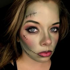 Frankenstiens wife Halloween makeup  Younique Products used Primer Crushed  Empowered  Famous  Dignified  Stunning pressed blush Perfect liner 3d mascara  Conceited listing Spellbound liquid lipstick (as liner)