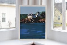 Indian Island Lighthouse Print (8x10 Giclee Poster, Wall Decor Art). Indian Island Lighthouse in Rockport, Maine by Graphic Artist Alan Claude. Giclee print beautifully printed on archival heavy paper with solid ink coverage...looks and feels like a silkscreened print.
