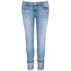 current/elliott 'The Cuffed Skinny' wide cuff jeans ($220) ❤ liked on Polyvore featuring jeans, pants, bottoms, blue, blue jeans, current elliott jeans, skinny fit jeans, cuff jeans and cut skinny jeans