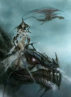 Fantasy Art Warrior, Fantasy Dragon, Fantasy Rpg, Fantasy Girl, Dark Fantasy, Serpieri, The Black Cauldron, Luis Royo, Dragon Rider