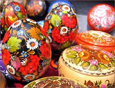 The pagan and Christian traditions of painting decorated Easter eggs in Ukraine and Russia.