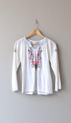 Sofia blouse vintage 1970s peasant top gauze 70s by DearGolden