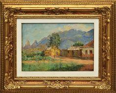 """MANOEL FARIA (1895-1980). """"Casinhas na Várzea de Teresópolis ao Fundo Dedo de Deus"""", óleo s/"""